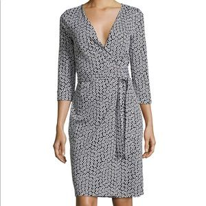 Classic DVF black and white floral wrap dress